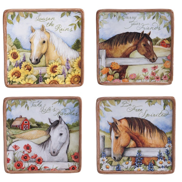 Certified International Heartland Multicolored Ceramic 6-inch Canape Plates (Pack of 4 Assorted Designs & Certified International Heartland Multicolored Ceramic 6-inch Canape ...