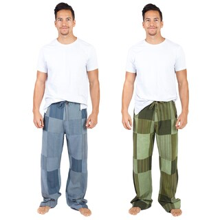 Handmade Men's Recycled Patchwork Cotton Lounge Pants (Nepal)