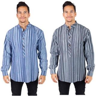 Men's Long Sleeve Stripe Cotton Collar Kurta Shirt (Nepal)