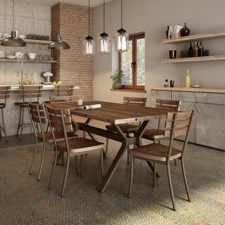 Carbon Loft Montgolfier Medium Brown Wood Metal Chairs and Table Dining Set (2 options available)