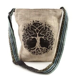Handmade Boho 'Tree of Life' Hemp Blend Crossbody Bag (Nepal)