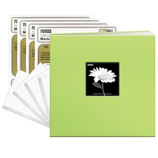 Pioneer Citrus Green Fabric 12x12 Frame Cover Post-bound 40 Pages (20 Sheets) Scrapbook