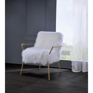 Acme Furniture Bagley Gold and White Wool Accent Chair