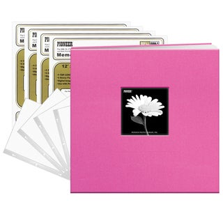 Pioneer Bright Pink Fabric Frame Cover 12-inch x 12-inch 20-sheet Bound Scrapbook