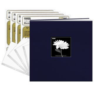 Pioneer 12x12 Regal Navy Blue Fabric Frame Cover Post Bound Scrapbook 40 Pages (20 Sheets)