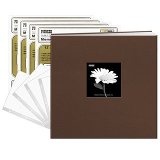 Pioneer Chocolate Brown Fabric Frame Cover 12 x 12 40-page Post Bound Scrapbook