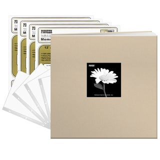 Pioneer Biscotti Beige Fabric Frame Cover 12-inch 40-page (20-sheet) Post Bound Scrapbook