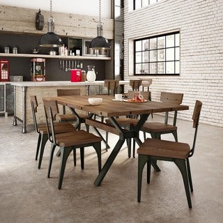 Carbon Loft Kettering Medium Brown Birch Wood Metal Chairs and Table Dining Set