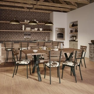 Carbon Loft Montgolfier Gunmetal/Cowhide Chairs and Table Dining Set (2 options available)