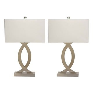 Urban Designs Sand Nickel Metal 28-inch Table Lamp with USB Port (Set of 2)