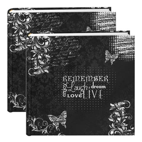 Pioneer Chalkboard Black/White 200-pocket Photo Albums (Set of 2)