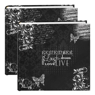 Pioneer Chalkboard Black/White 200-pocket Photo Albums (Set of 2)