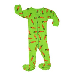 Elowel Baby Girls' Footed Carrots Green Cotton Size 6M - 5 Years Pajama Sleeper