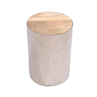 Silver Hammered Metal Table COOKIE with Fitted Hardwood Top