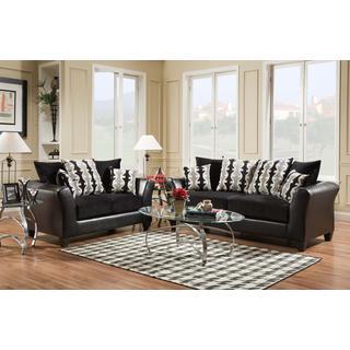 SOFA TRENDZ Dayton Black 2-piece Sofa and Loveseat Set