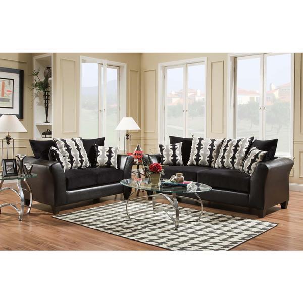 Shop Sofa Trendz Dayton Black 2 Piece Sofa And Loveseat