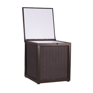 Sunjoy 50-Quart Steel Chest Cooler with Woven Wicker Pattern