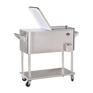 Sunjoy 80-Quart Stainless Steel Wheeled Cooler