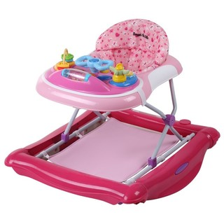 Dream on Me Pink 2-in-1 Crossover Musical Walker and Rocker