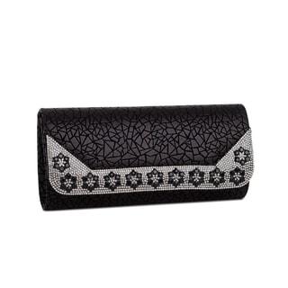 J. Furmani Minerva Black Faux Leather Evening Handbag