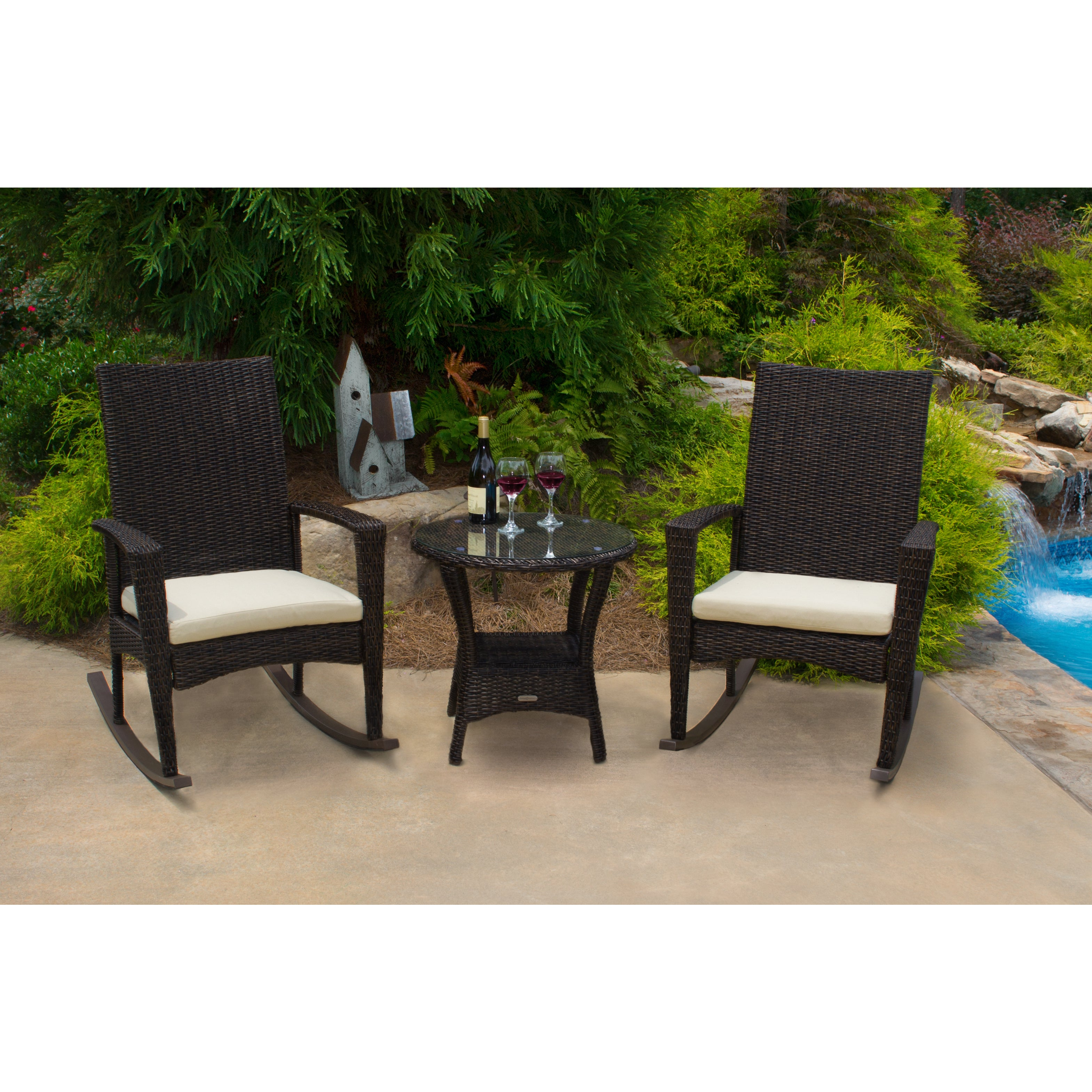 Shop Tortuga Outdoor Bayview Pecan Rocking Chair 3 Piece