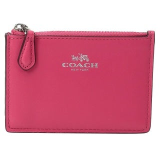 Coach Box Program Amaranth Leather Mini ID Skinny Wallet