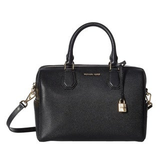 Michael Kors Mercer Medium Black Leather Satchel Handbag