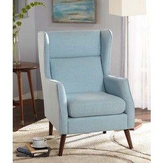 Lovely Simple Living Alana Mid Century Light Blue Wing Chair