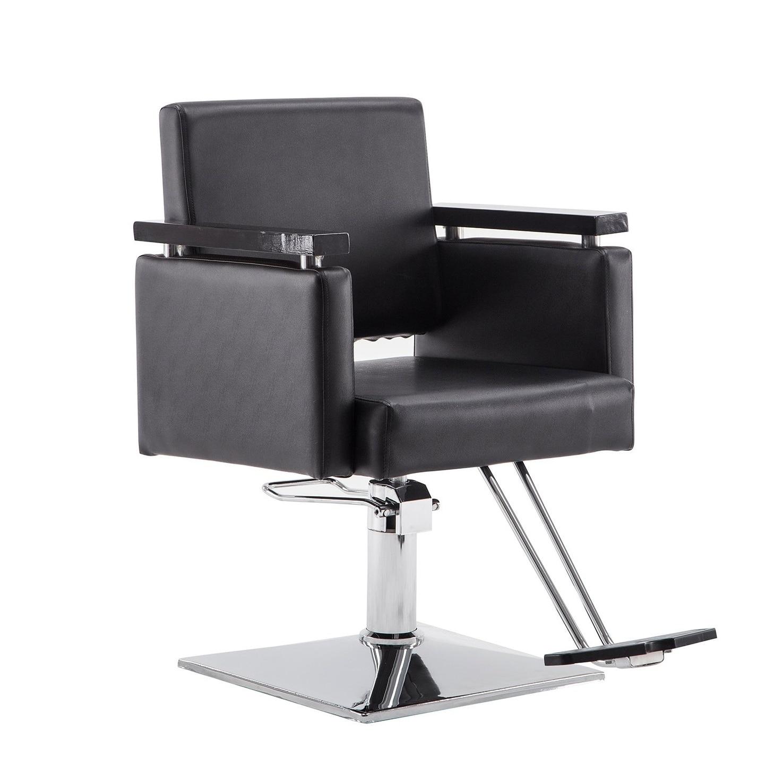 BarberPub Classic Hydraulic Black Hair Salon Chair (Black)