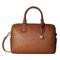 Michael Kors Mercer Medium Luggage Brown Leather Satchel Handbag