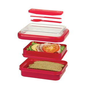 Progressive Prep Solutions On-the-Go Divided Lunch Container, Red