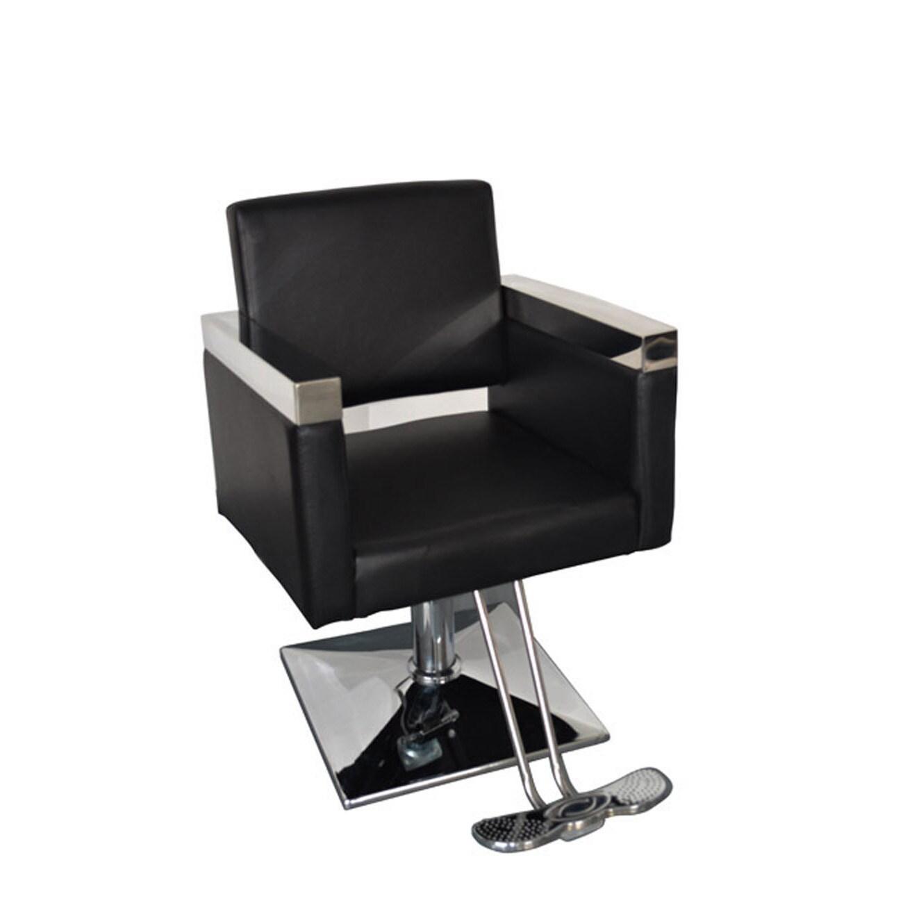 BarberPub Hydraulic Black Hair Salon Chair (Black)