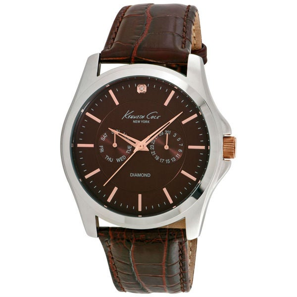 c83af2d5813 Shop Kenneth Cole Diamond 10022313 Men s Brown Dial Watch - Free Shipping  Today - Overstock - 14357044