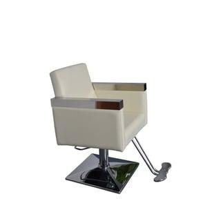 BarberPub Hydraulic Creme White Hair Salon Chair