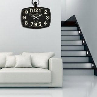 "Adeco ""Cabernet Sauvignon"" Black Iron Wall Clock"