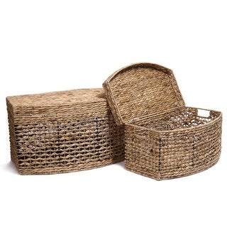 Adeco Light Brown Seagrass Woven Basket Chest with Lid (Set of 2)