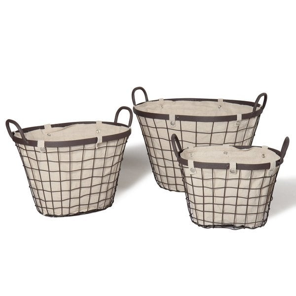 Adeco Beige Fabric Lined Oval Wire Baskets (Set or 3)