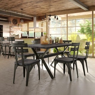 Carbon Loft Montgolfier Dark Grey Wood Metal Chairs and Table Dining Set (2 options available)