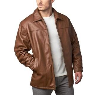 Men's Brown Leather Zip Front Jacket Finger-tip Length