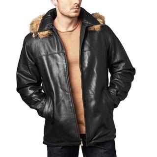 Tanners Avenue Men's Black Lambskin Leather Hooded Coat
