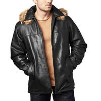 Men's Black Lambskin Leather Hooded Coat
