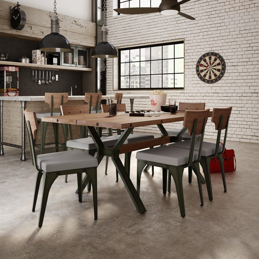 Amisco Rally Metal Chair and Laredo Table, Dining set (Medium Grey Polyester Grey Wood Brown Metal 5 Piece Sets)