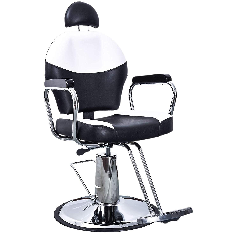 BarberPub Reclining Hydraulic Black & White Hair Salon Chair