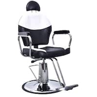 BarberPub Reclining Hydraulic Black & White Hair Salon Chair - Black&White