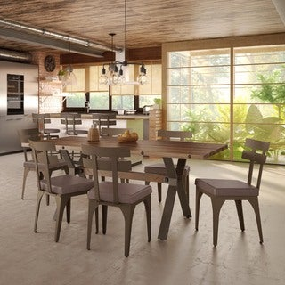 Carbon Loft Montgolfier Metal Brown Upholstered Chair and Table Dining Set (2 options available)