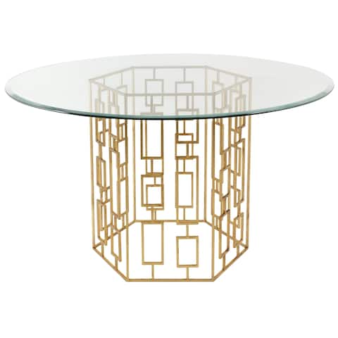 SAFAVIEH Couture High Line Collection Alexandra Gold Leaf Glass Top Dining Table