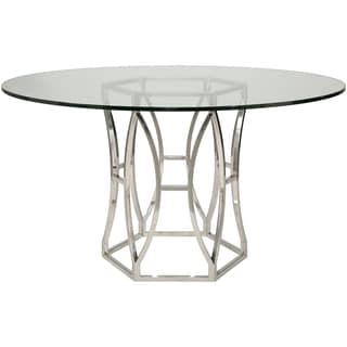 Safavieh Couture Collection Shaw Stainless Steel Glass Top Dining Table
