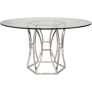 Safavieh Couture High Line Collection Shaw Stainless Steel Glass Top Dining Table