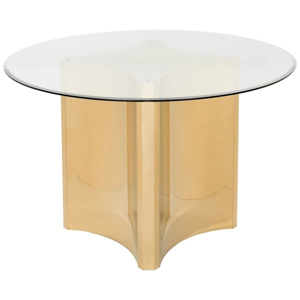 cef2a7260cab72 Shop Safavieh Couture High Line Collection Aiza Gold Stainless Steel Glass  Top Dining Table - Free Shipping Today - Overstock - 14357130