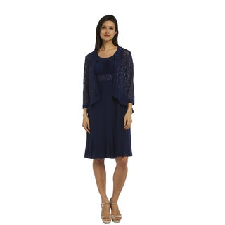 R&M Richards Women's Lace Jacket Dress
